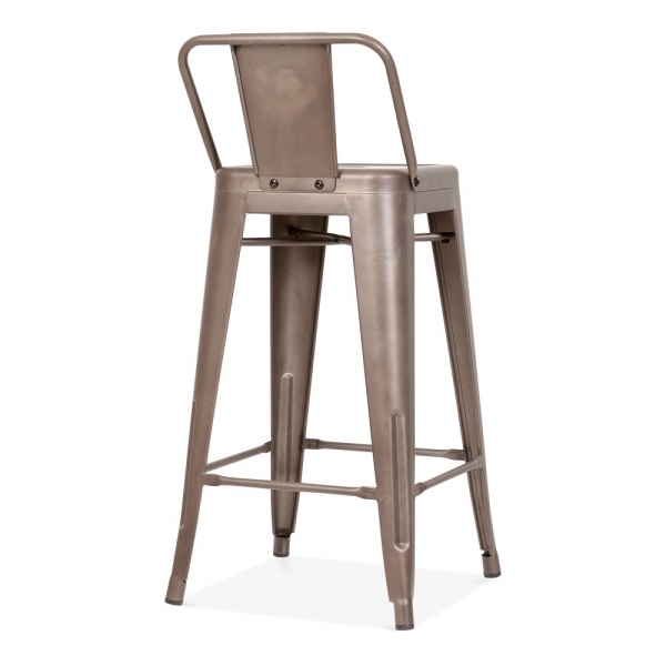 tolix style metal bar stool with low back rest rustic 65cm cult uk. Black Bedroom Furniture Sets. Home Design Ideas