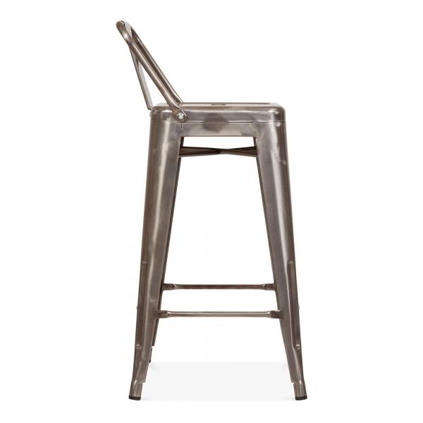 Tolix style metal bar stool with low back rest gunmetal for Barhocker xavier pauchard