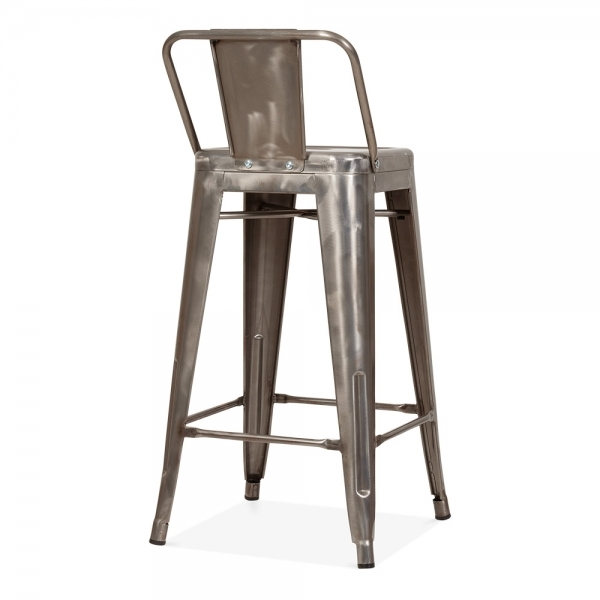 Tolix style metal bar stool with low back rest gunmetal 65cm cult uk - Tolix low back bar stool ...
