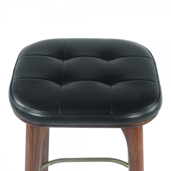 Cult Living Winchester Upholstered Solid Wood Bar Stool Black Walnut cm