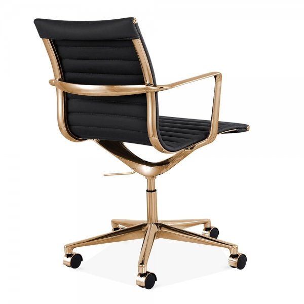 cult living black and gold ribbed office chair with short back | cult