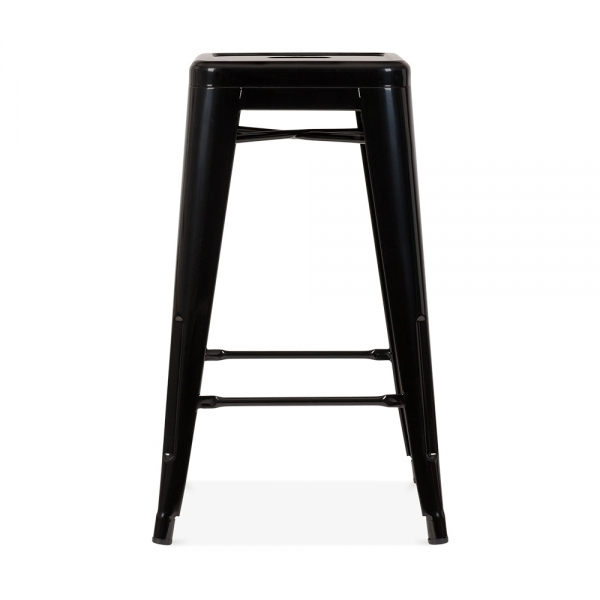black powder coated 65cm tolix style stool caf stools. Black Bedroom Furniture Sets. Home Design Ideas
