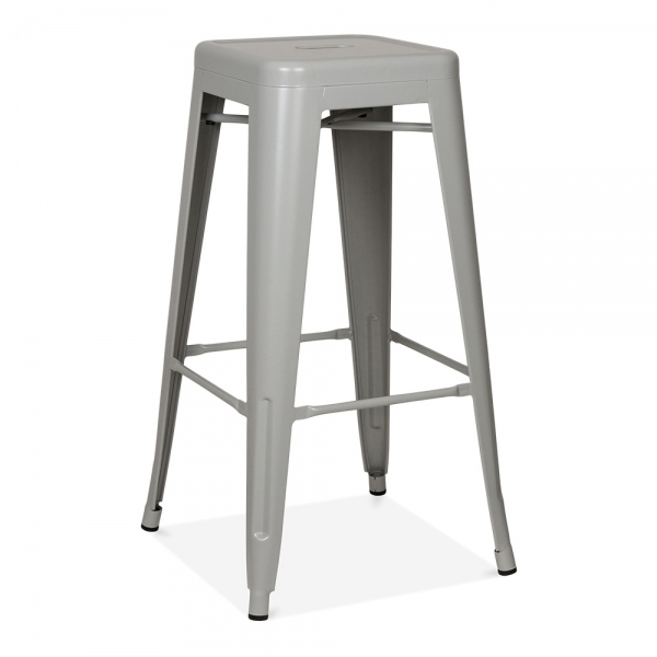 Cool grey powder coated 75cm tolix style industrial stool - Tolix counter stools ...