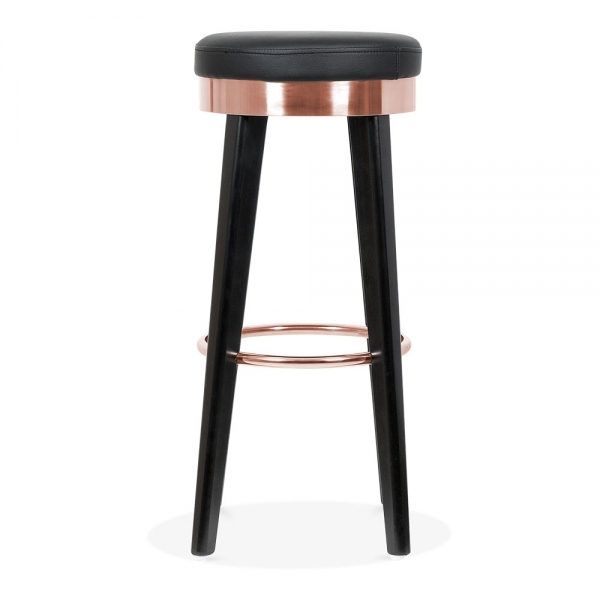 Cult Living Fusion Wooden Bar Stool With Metal Ring Black Copper 75cm