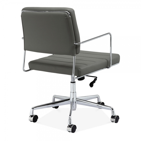 cult living grosvenor leather office chair grey & chrome | cult uk