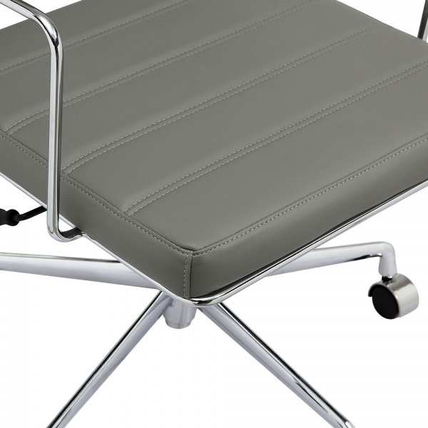 Cult Living Grosvenor Leather Office Chair Grey Amp Chrome