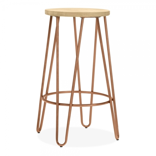 Hairpin Stool With Natural Wood Seat Vintage Copper 66cm