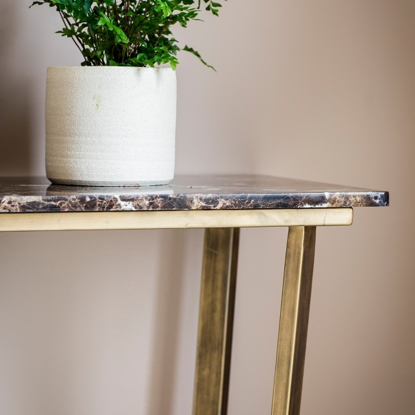 gatsby marble console table brown and gold