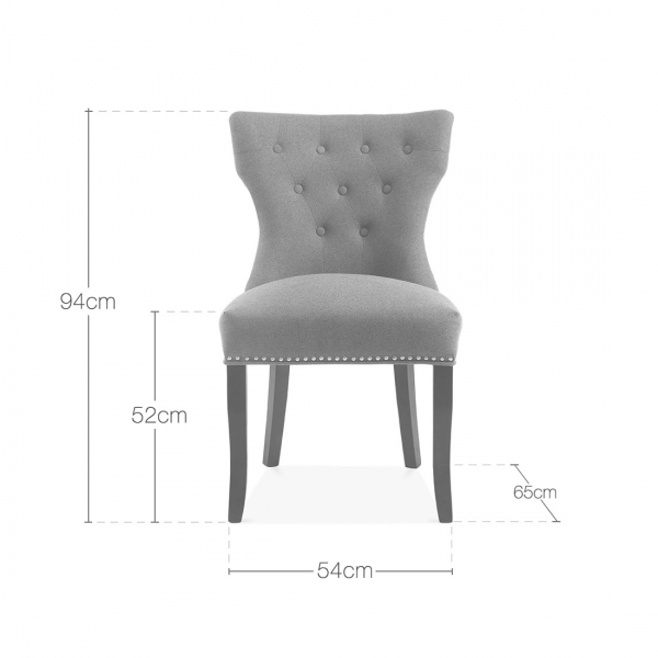 Cult Living Regent Button Back Dining Chair  Wool Upholstered  Dark Grey    Regent Button High Back Chair Dark Grey Upholstered   Kitchen  . Grey Upholstered Dining Chairs. Home Design Ideas