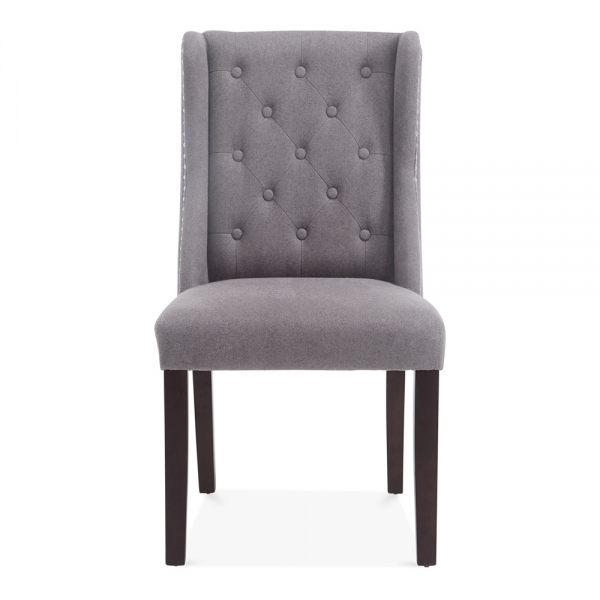 sloane wingback dining room chair grey wool upholstered