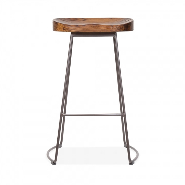 Victoria metal bar stool with wood seat rustic 65cm cult uk for Bar stools clearance