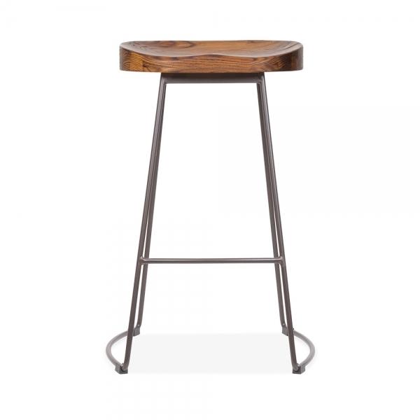 Victoria Metal Bar Stool With Wood Seat Rustic 65cm Cult Uk