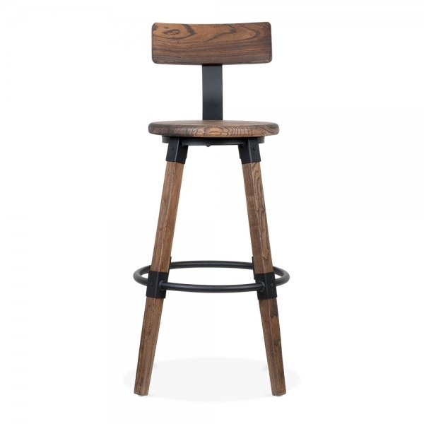 ... Cult Living Bastille Round Bar Stool with Backrest - Brown Wood 75cm ...  sc 1 st  Cult Furniture : round bar stools - islam-shia.org