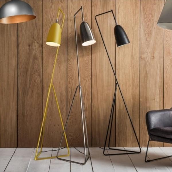Tate Adjustable Head Floor Lamp Yellow Modern Reading Lights