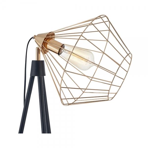 black gold hamilton caged tripod floor lamp industrial lighting. Black Bedroom Furniture Sets. Home Design Ideas