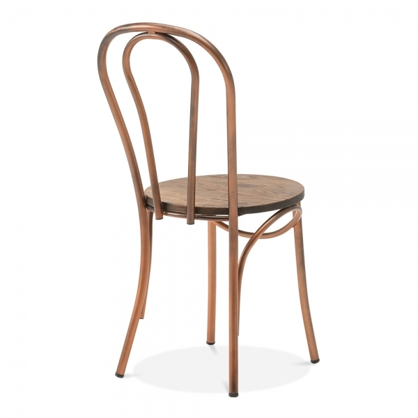copper thonet style metal bistro chair with wood seat