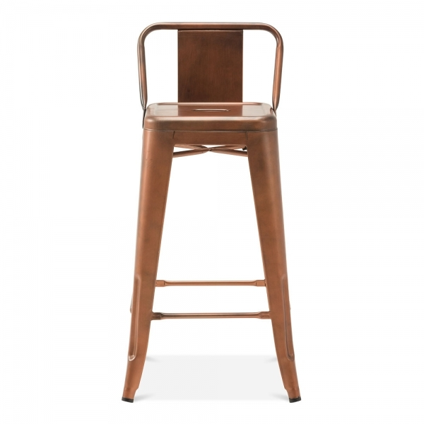 Tolix style metal bar stool with low back rest vintage copper 65cm - Tolix low back bar stool ...