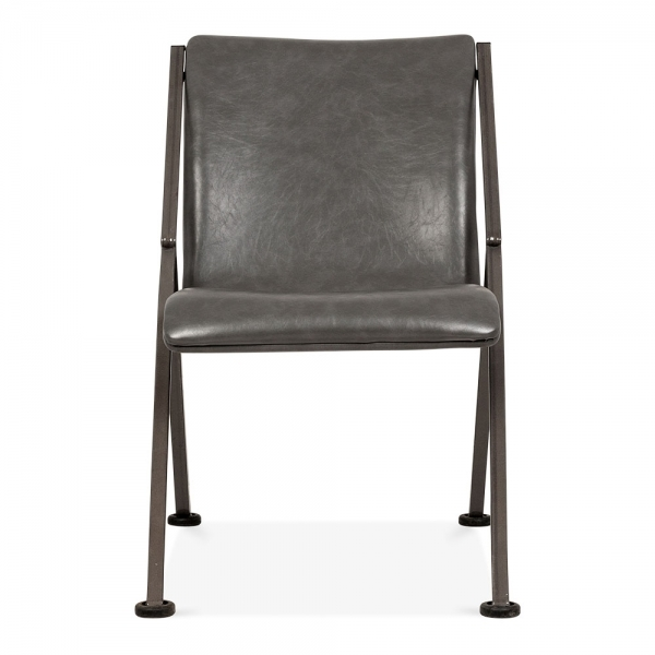 Brown Leather Maxwell Metal Dining Chair: Nica Metal Frame Faux Leather Chair In Grey