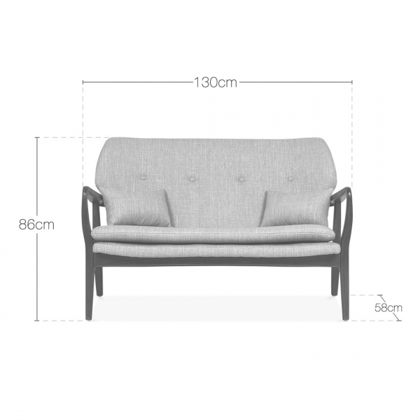 ... Cult Living Hampton Loveseat Small Sofa, Fabric Upholstered, Light  Grey. U2039