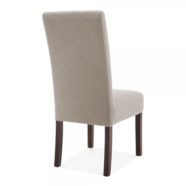 cream wool upholstered regal high back dining chair