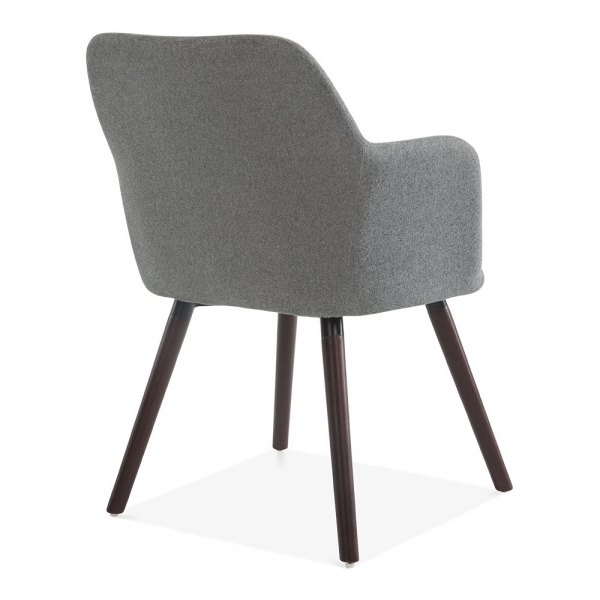Grey Wool Upholstered Hanover Small Armchair Modern Dining Chairs