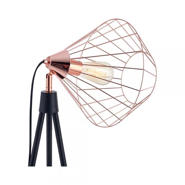 Industrial Lighting Hamilton: Black & Copper Hamilton Caged Tripod Floor Lamp