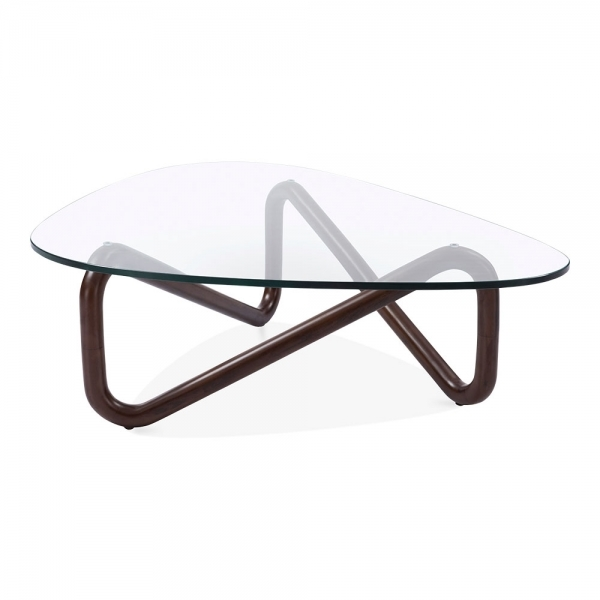 Walnut Finish Infinity Glass Top Coffee Table Living Room Furniture