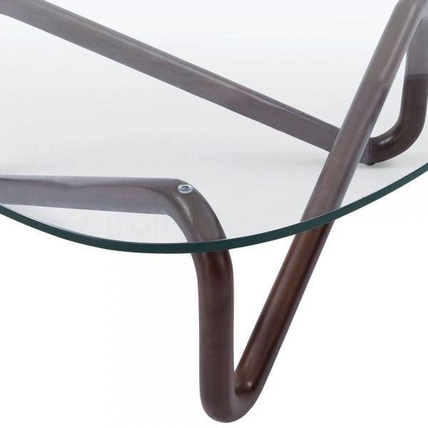 Walnut Finish Infinity Glass Top Coffee Table Living Room Furniture