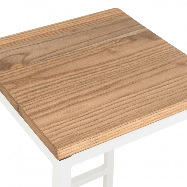 White 65cm Consec Stool With Natural Wood Seat