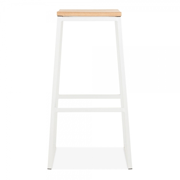 White 75cm Consec Stool With Natural Wood Seat