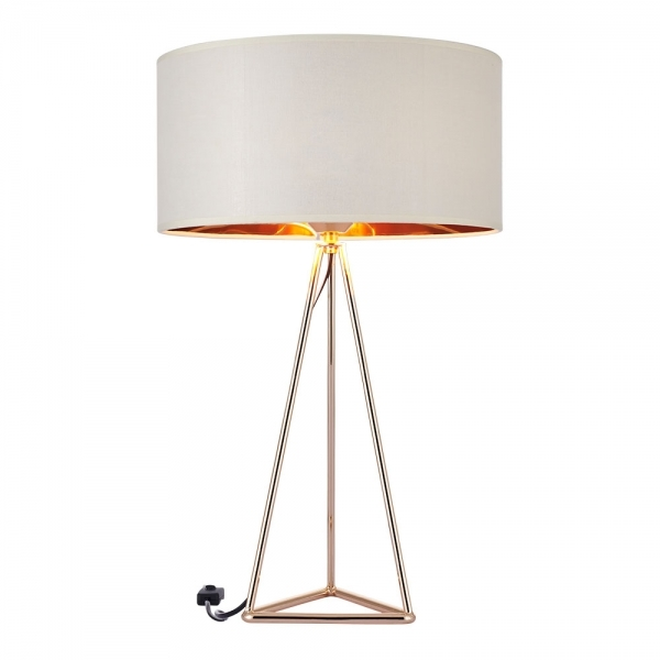 orion geometric tripod table lamp gold and white