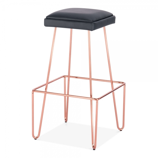 Upholstered Kitchen Stools Uk: Copper 76cm Stool Faux Leather Upholstered Newton Metal