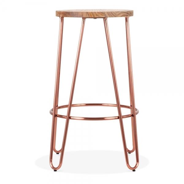 Copper 66cm Hairpin Metal Bar Stool Solid Elm Wood