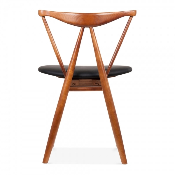 cult living kite wooden dining chair with black faux leather seat walnut finish