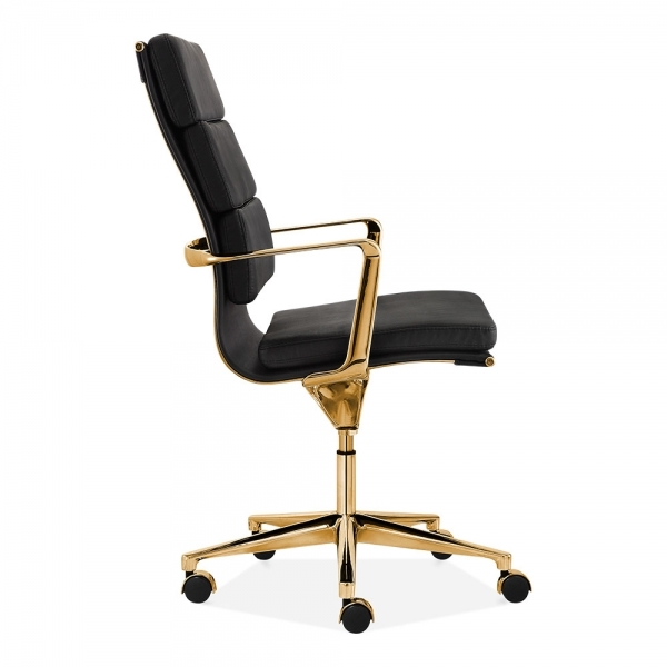 living with pad cult living black and gold high back soft pad office chair cult uk