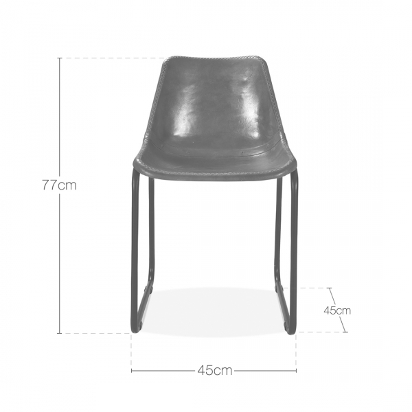Brown Leather Maxwell Metal Dining Chair