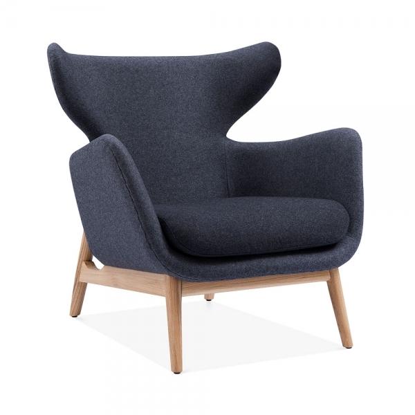 Grey Fabric Duchess Wingback Armchair Living Room Furniture