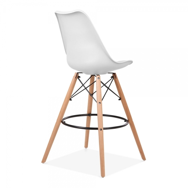 White 65cm Bar Stool With Eames Style Leg Counter Height