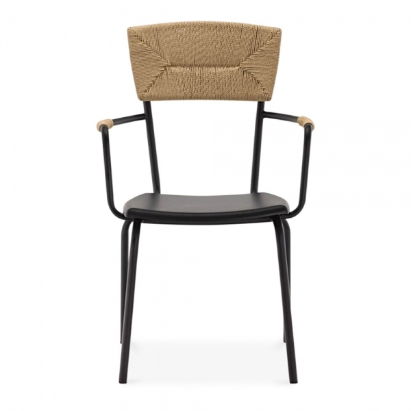 ... Cult Living Herring Metal Dining Armchair, Woven Backrest, Black ...