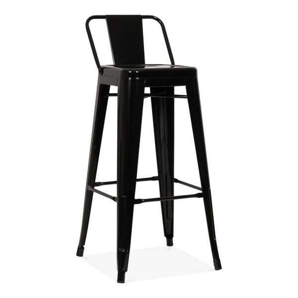 tolix style metal bar stool with low back rest black 75cm. Black Bedroom Furniture Sets. Home Design Ideas