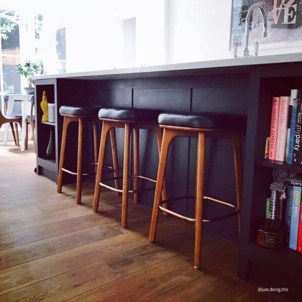 Winchester Upholstered Wooden Bar Stool Grey Amp Walnut 65cm