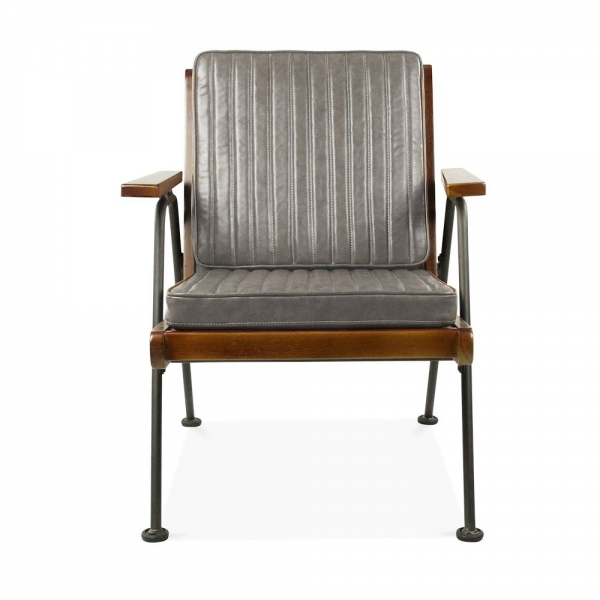 Grey Leather Upholstered Wickham Wooden Armchair ...