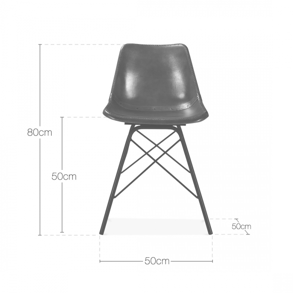 Grey Leather Dexter Metal Dining Chair
