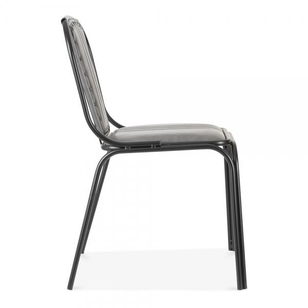 Whitney leather upholstered studded dining chair grey for Upholstered studded dining chairs