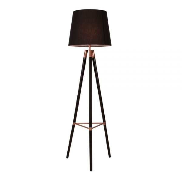Cult living arlington wooden tripod floor lamp black and copper