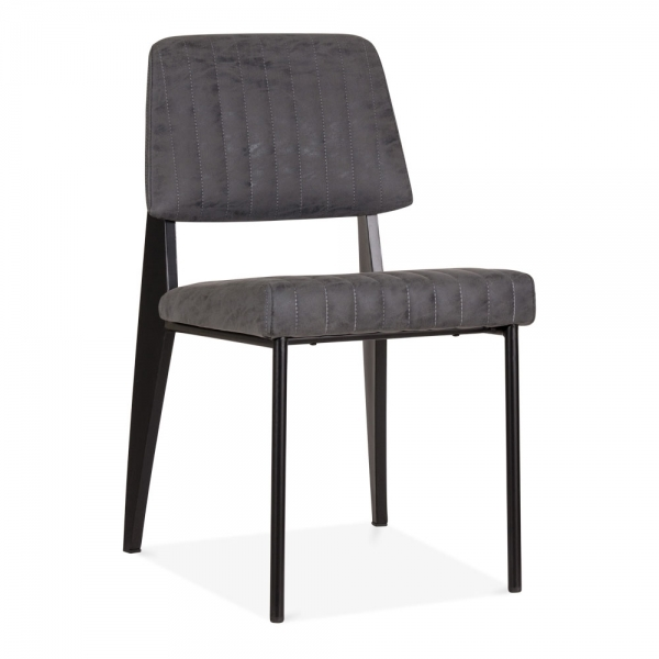 standard pu leather upholstered metal dining chair in black cult uk. Black Bedroom Furniture Sets. Home Design Ideas