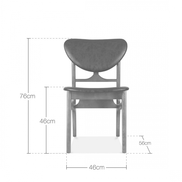 Ari Leather Dining Chair Ash: Solid Ash Wood & Grey Faux