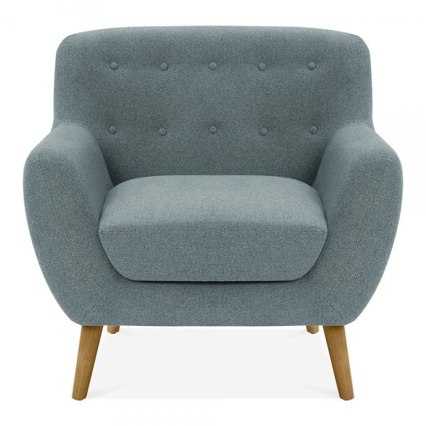 Light blue fabric upholstered trent armchair modern for Light blue armchair