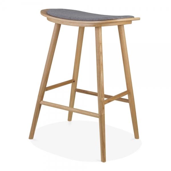 Upholstered Kitchen Stools Uk: Grey Upholstered Aldo Saddle Bar Stool 76cm