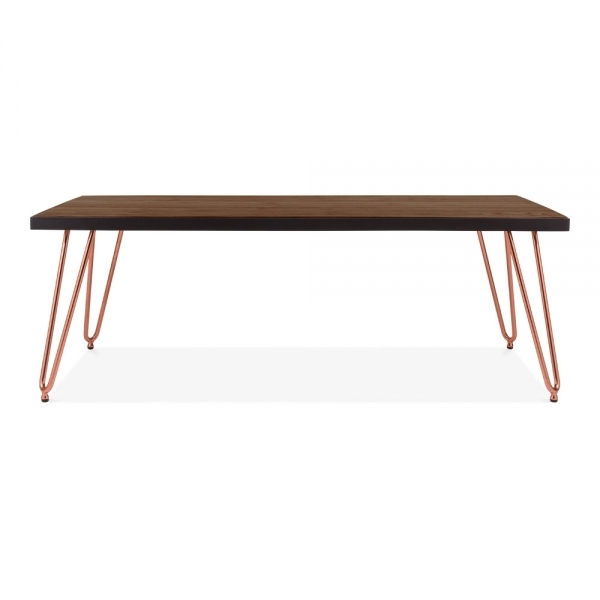 Copper Top Rectangular Coffee Table: Copper 122cm Hairpin Rectangular Coffee Table With Solid